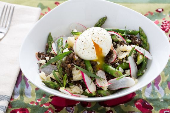 Beluga Lentil & Asparagus Salad with Soft-Boiled Eggs, French Breakfast Radishes & Piave Cheese. Visit https://www.blueapron.com/ to receive the ingredients.