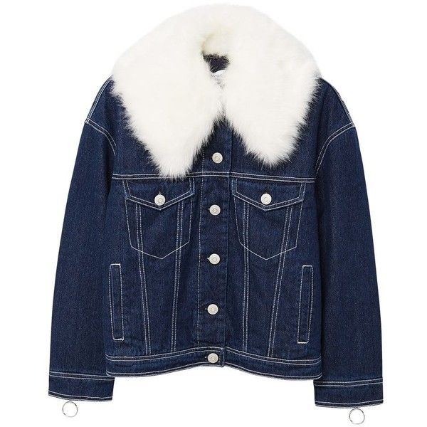MANGO Faux fur neck denim jacket ($120) ❤ liked on Polyvore featuring outerwear, jackets, dark blue, blue faux fur jacket, faux fur jacket, embellished jean jacket, collar jacket and blue jackets