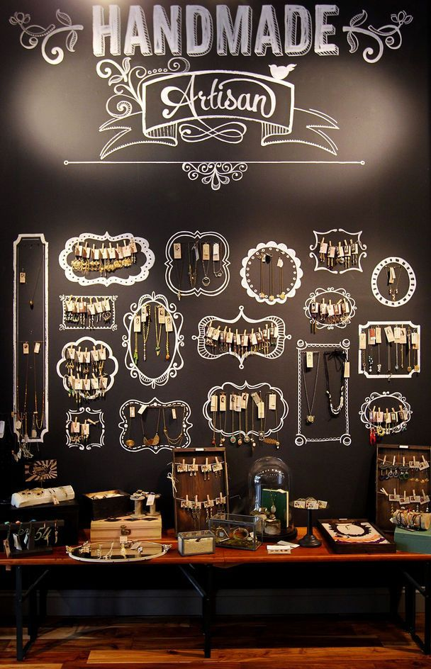 jewelry wall display. With a blackboard like that you can change the background display design easily - Picmia