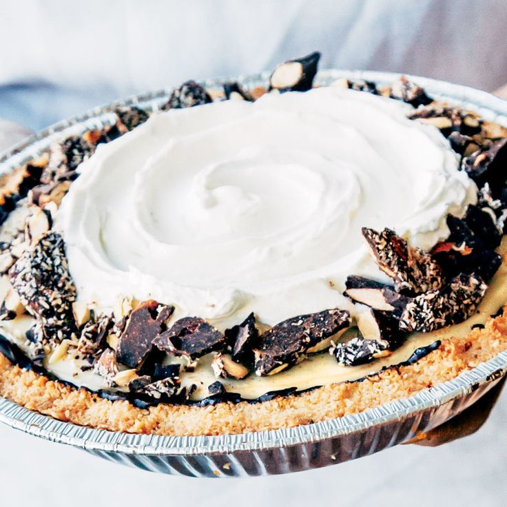 Tandem Coffee + Bakery's coconut cream pie riffs on the classic in all the right ways. Shredded coconut is a genius swap-in for cookie crumbs in the crust, and incorporating both coconut and regular milks in the custard gives it better flavor and a fluffier consistency.