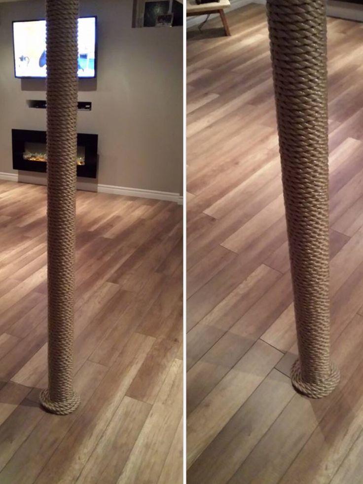 Nautical Rope To Wrap Around Metal Beams Diy For Basement