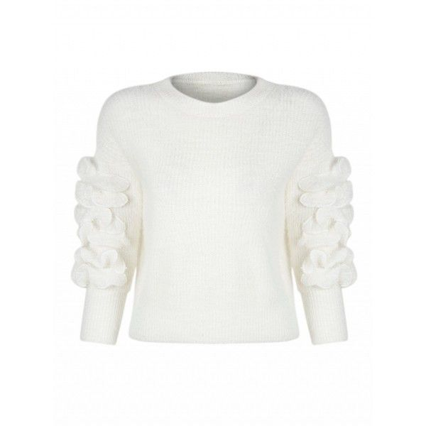 Choies Cream Frill Embellished Fluffy Knitted Sweater ($34) ❤ liked on Polyvore featuring tops, sweaters, white, ruffle top, frill top, frilly tops, ruffle sweater and cream sweater