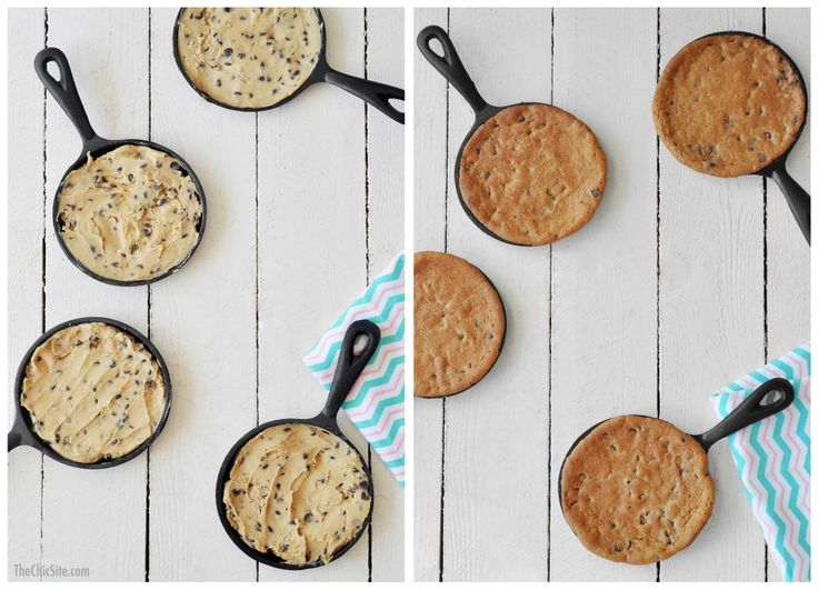 Store Bought Cookie Dough Baked in Mini Cast Iron Skillets ~ Such a fun and easy dessert! Top it with Ice Cream! Cookie Cake