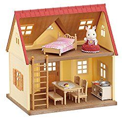 One of the most popular toys this year is this Sylvanian Families Cosy Cottage Starter Home Set. Recommended for children 3 and over it's the perfect starter dollhouse for young children with it's pretty furniture and overall appearance.  With its red roof and beige brick style exterior, this quaint two floor cottage includes a ladder to connect the upstairs and downstairs. As well as coming complete with Freya chocolate rabbit girl and a selection of starter furniture, the set also ...