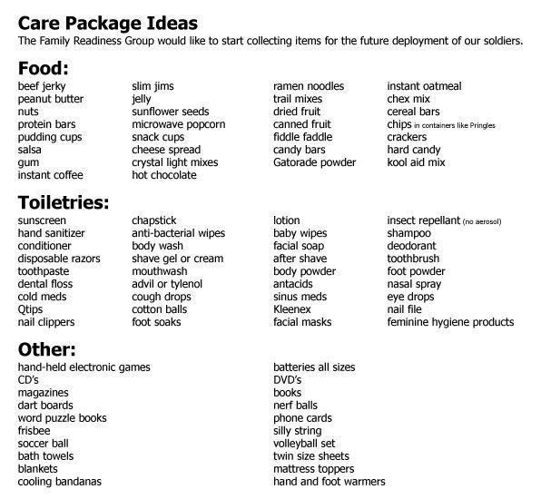 Care Package Ideas - Great ideas to tuck away for your next packages. MilitaryAvenue.com