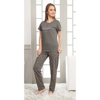 Pyjama Sets, Night Wear, Women, Fashion, Lulu, Pink Avenue, Pink Avenue Women's Pyjama Set 11716 , Women , Pink Avenue , 11716 ,  ,  ,  ,  ,  ,  , Top : 53% Cotton & 47% Polyester. Bottom : 47% Cotton & 53% Polyester , Summer ,  , 1 Pyjama Set , Machine wash warm with similar colors,Do not bleach, Do not dry clean, Do not tumble dry, Iron low required. There might be slight color variation due to lightings and flash while photo shoot.