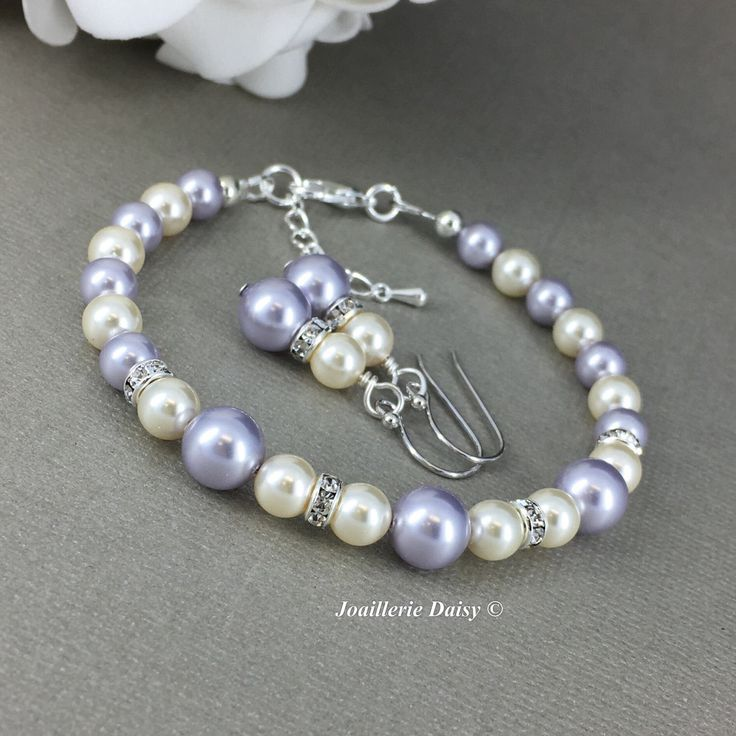 Purple Bracelet Lavender Pearl Jewelry Gift for Her Swarovski Bracelet and Earrings Bridesmaid Maid of Honor Mother's Day Gift for Momss by dcjoaillerie on Etsy https://www.etsy.com/ca/listing/519058145/purple-bracelet-lavender-pearl-jewelry