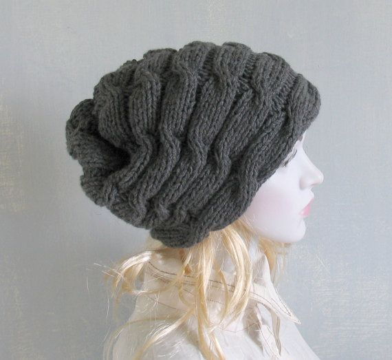 Knitted chunky grey beanie  Womens bulky hat  Teens by vintachi