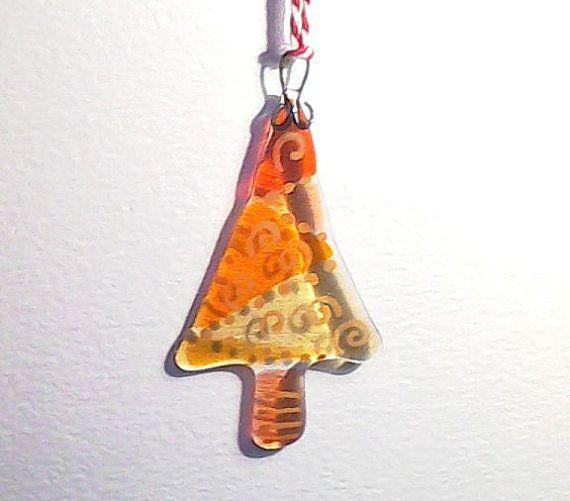 Christmas Tree Decoration Ornament yellow amber by Glassprimitif