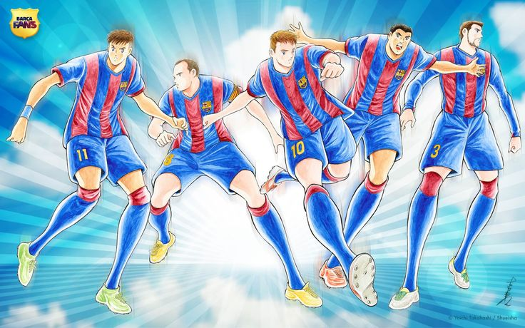 The creator of the cartoon 'Captain Tsubasa' has created a unique drawing for FC Barcelona featuring his trademark comic style.