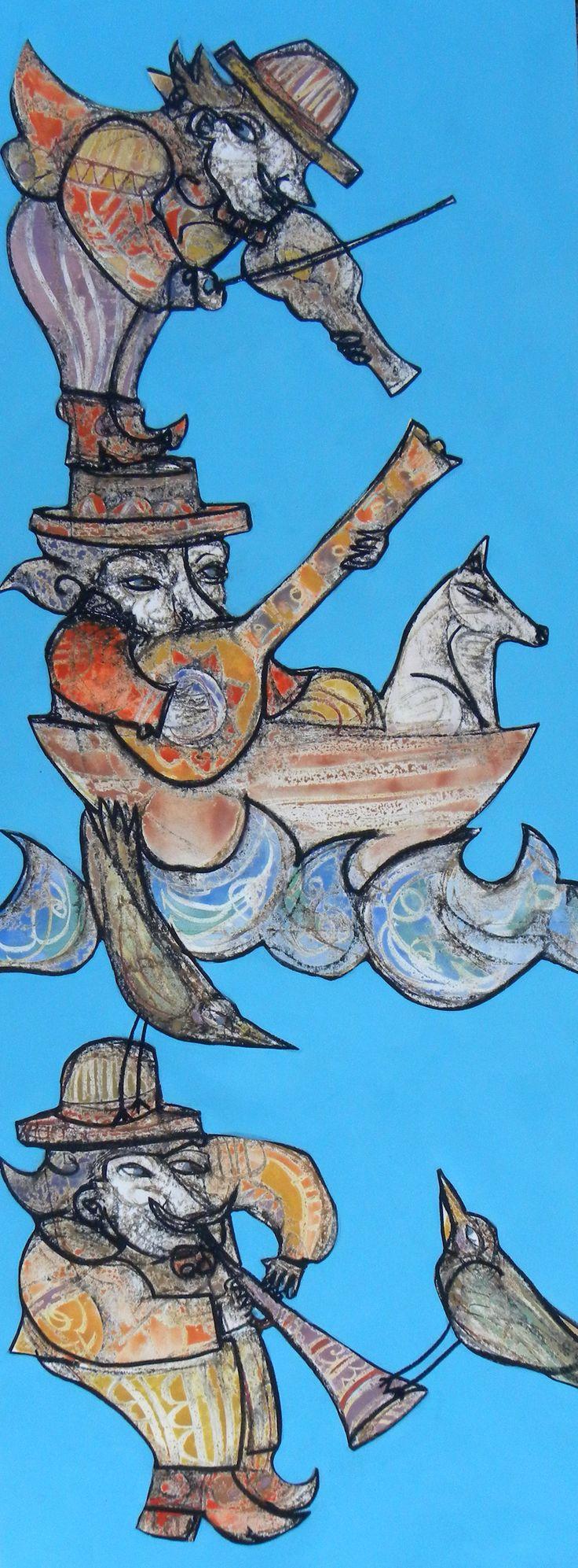 56x150cm pastello ad olio tempera acrilico musicisti in bilico
