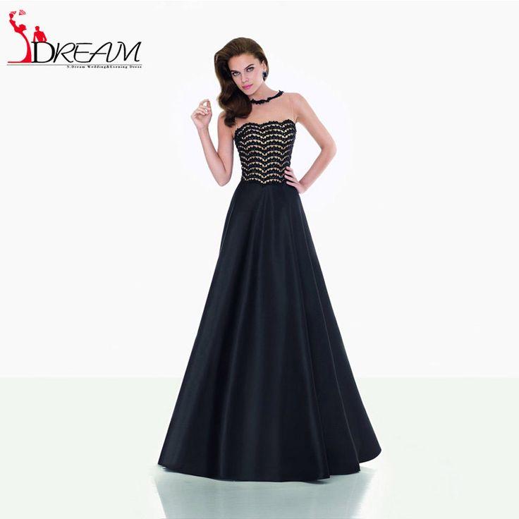 Elegant Black Prom Dresses 2016 Sexy illusin Tank Sleeveless Lace Satin Floor Length Formal Evening Dresses vestidos de fiesta