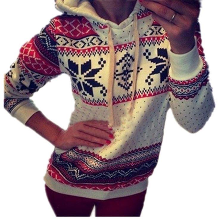 Frauen-Winter-warme Hoodie Sweatshirt Nette Weihnachtspullover Sweater (Asian XL ( EU L  ), weiß)
