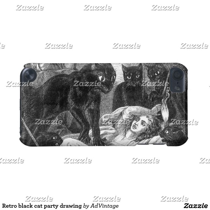 Retro black cat party drawing iPod touch (5th generation) cases