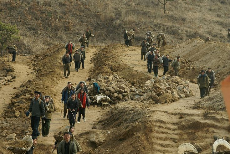 road construction, North Korea.