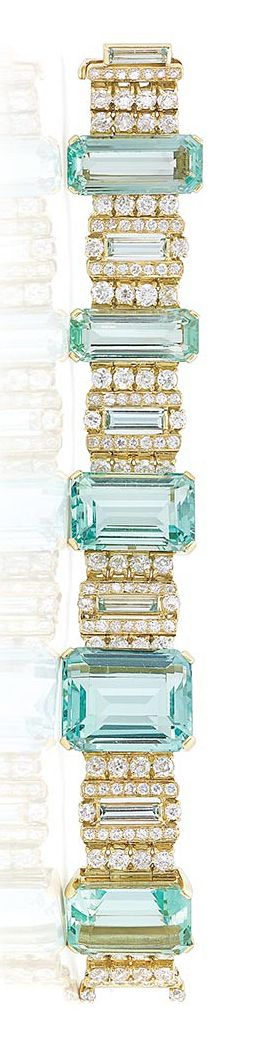 Gold, Aquamarine and Diamond Bracelet   Centering 5 emerald-cut aquamarines approximately