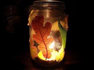 Autumn decorations mason jar. Őszi mécses tartó befőttes üvegből.