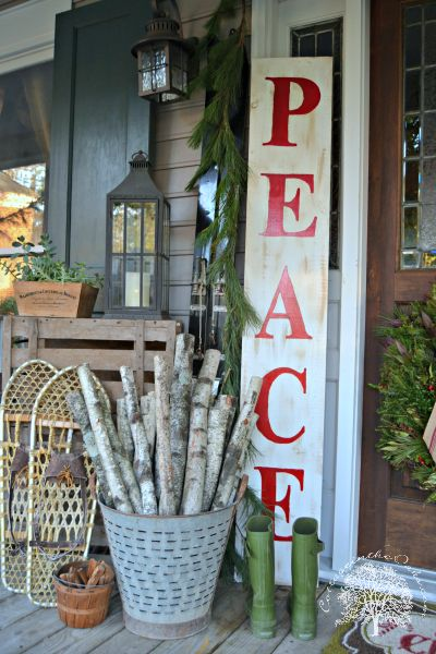 LIKE THE BUCKET WITH ONLY WHITE BIRCH IN IT                      Vintage Peace Sign on porch