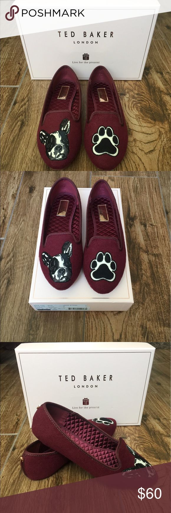 Ted Baker ayaya flats Ted Baker Ayaya - Women's Slippers : Burgundy Wool : Curl up and relax your paws in the sweet Ayaya slippers! Textile upper with embroidered details. Slip-on design. Round toe. Textile lining. Cushioned footbed. Textile sole. Ted Baker London Shoes Flats & Loafers