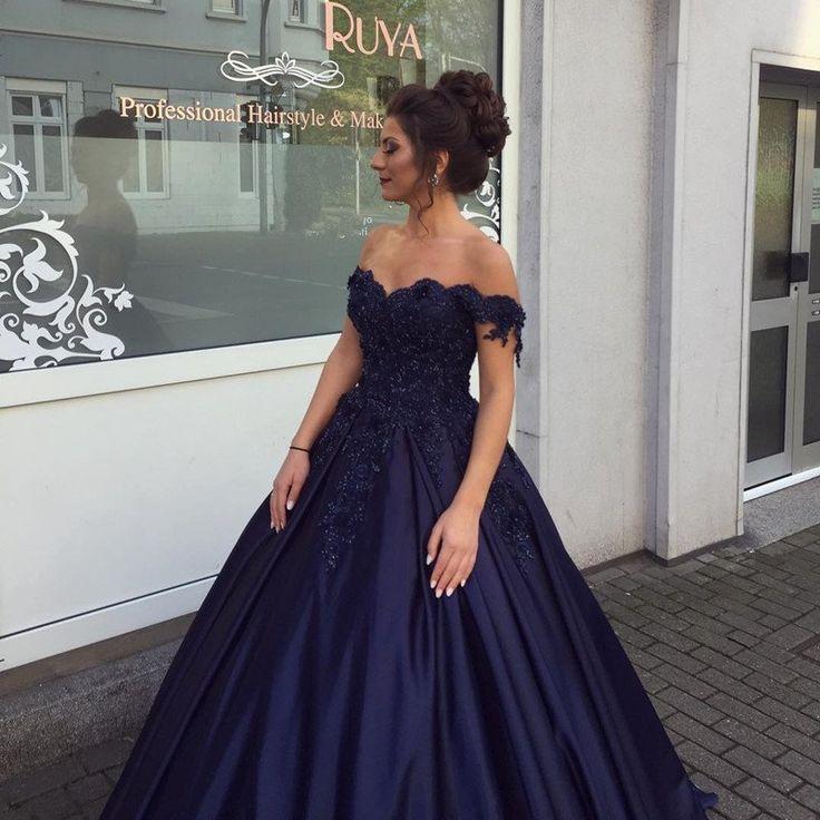 Elegant Navy Blue Ball Gowns Off Shoulder Wedding Dresses 2017 Engagement Dresses