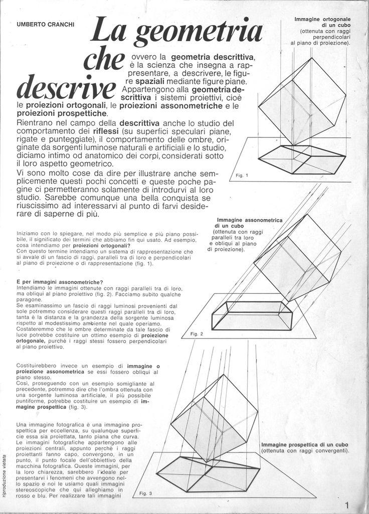 Raccolta tavole di geometria descrittiva con disegni stereoscopici, edizione 1977 autore Umberto Cranchi