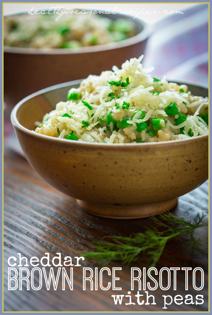 Cheddar Brown Rice Risotto with Peas on HealthySeasonalRecipes.com