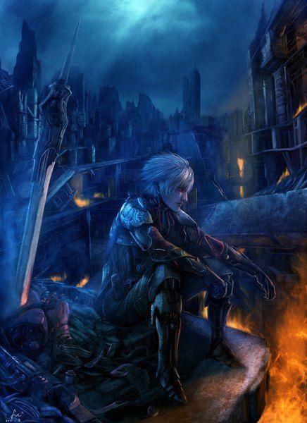 Аниме картинка 1395x1920 с  оригинальное изображение fufu один (одна) высокое изображение короткие волосы красные глаза чёлка сидит белые волосы смотрит в сторону подписанный губы ночь ночное небо город на улице голубой фон городской пейзаж облачное небо нос