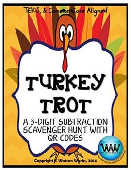 In this fun, quick 3-digit subtraction practice activity, students will solve 5 problems and complete a scavenger hunt to answer a Thanksgiving themed riddle. $1.50