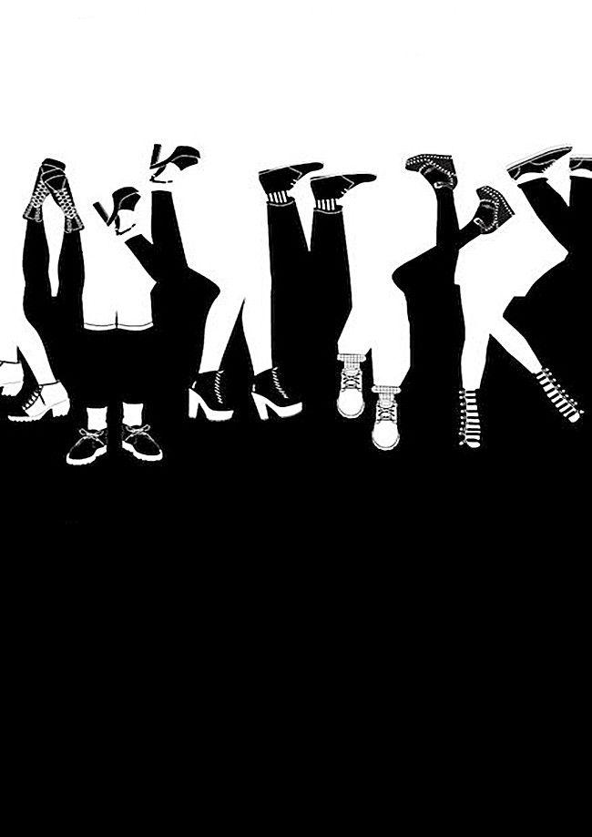 الشعب يمشي مقلوب الأسود و خلفية بيضاء Black And White Background People Black And White