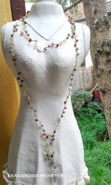 BEADSROSE PRIMITIVE: Collana lunga, uncinetto crochet, cristalli, boho-...