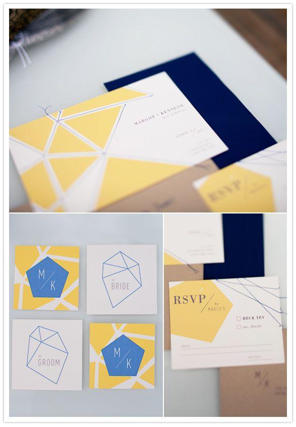 Geometric wedding invites by The Creative Parasol
