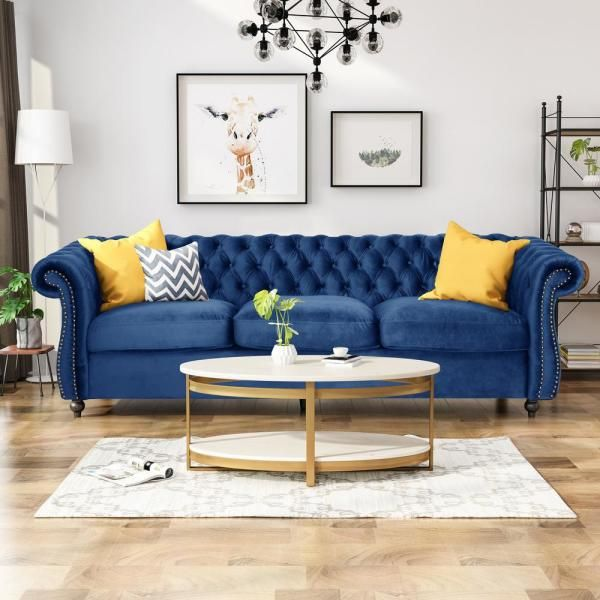 Noble House Somerville Chesterfield Navy Blue And Dark Brown Sofa 65582 The Home Depot Blue Sofas Living Room Blue Sofa Living Blue Couch Living Room