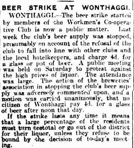 Beer Strike affirmed after public meeting. Members refuse to pay 4d for beer. 17 July 16 (The Age)