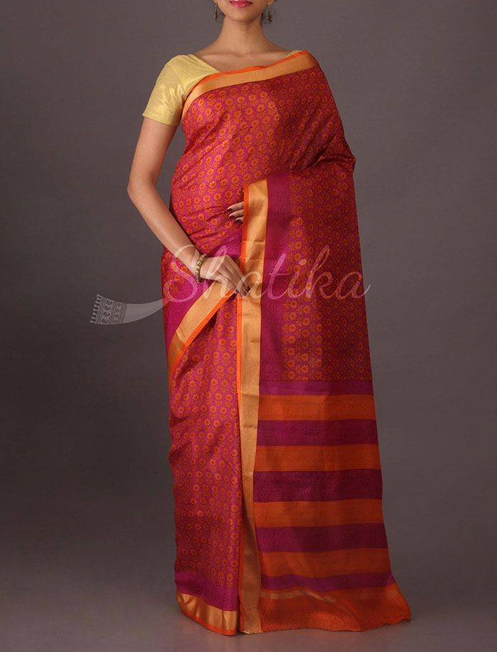 Mallika Trendy Fine Print Silk Saree in Burnt Red