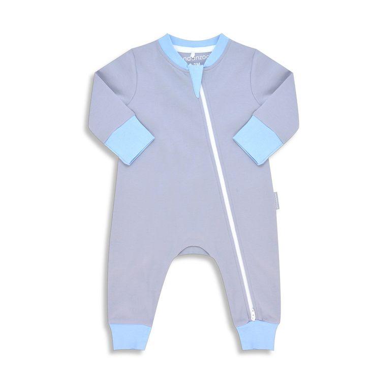 Endanzoo Organic Long Sleeve Romper - Grey w/ Blue