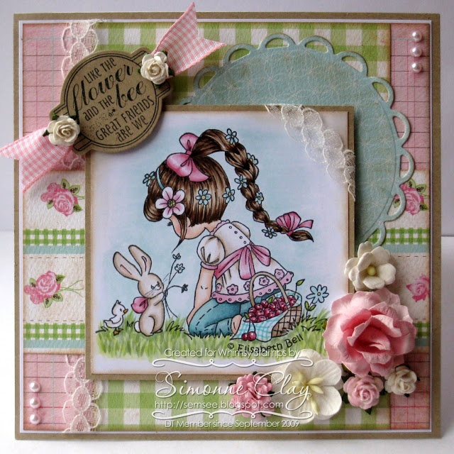 SemSee's Sparkly Scribblings. Adorable card by Simonne Clay for Whimsy Stamps.