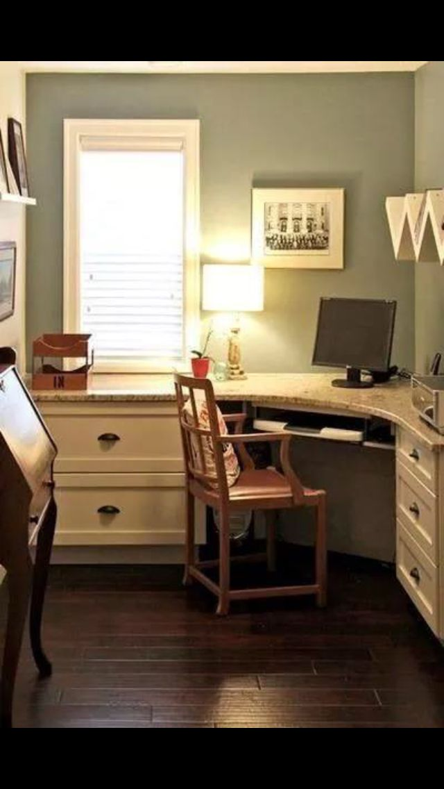 Great layout for a small office & love the calming blue color..would look so cute with pink accents!