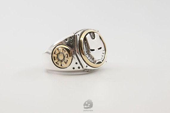 Iron man ring 925 Silver ringman ring. by zeroten2012 on Etsy