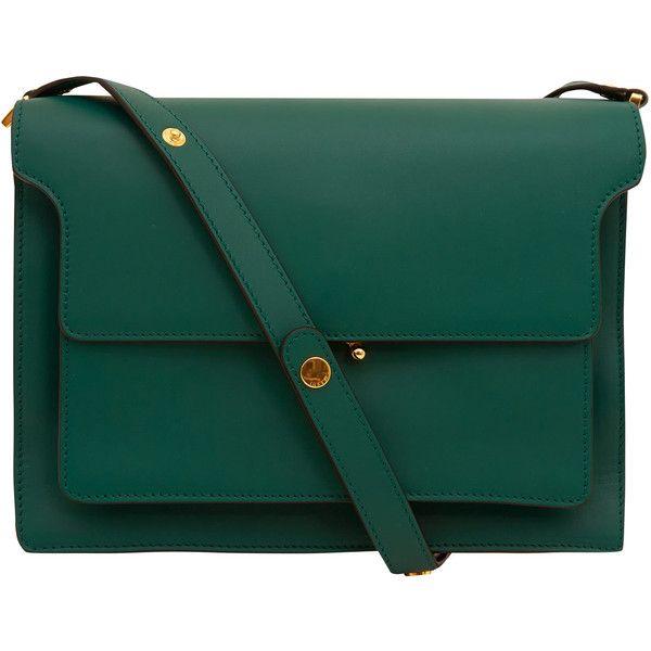 Marni Large Green Trunk Leather Bag (9.675 VEF) ❤ liked on Polyvore featuring bags, handbags, shoulder bags, purses, accessories, bolsas, shoulder handbags, green leather purse, shoulder strap handbags and leather satchel purse