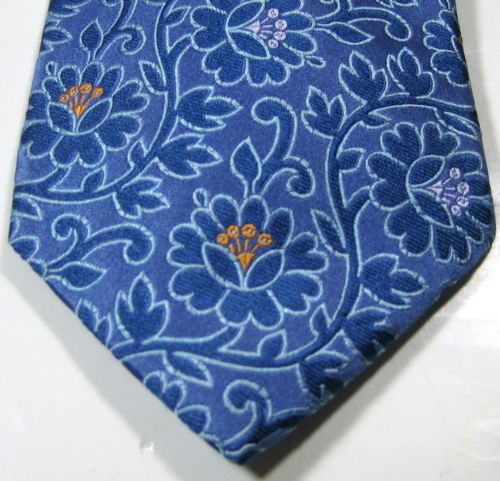XMI-Rich-Light-Electric-Blue-with-Purple-Orange-Flowers-Excellent-100-Silk-RARE