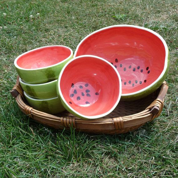 I will try to make one of these, they are so adorable!  Etsy | Watermelon Bowls Serving Set