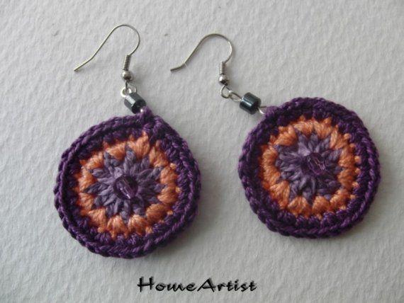 Crochet Mandala Earring with hematite beads