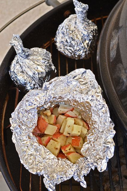 Foil Potato Packets on the Grill - I could prep all the ingredients and wrap it up before we leave for camping
