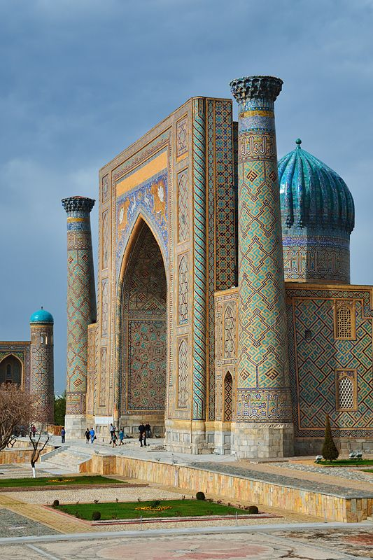 Sher-dor, Madrasah, Uzbekistan, the only doubly landlocked country in Central Asia and one of only two such countries worldwide.  Around its borders are Kazakhstan, Kyrgyzstan, Tajikistan, Afghanistan, and Turkmenistan. Before 1991 it was part of the Soviet Union. http://VIPsAccess.com/luxury-hotels-chicago.html
