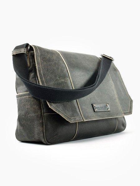 Marc New York Vintage Retro Calf Leather (Computer) Messenger Bag - Black