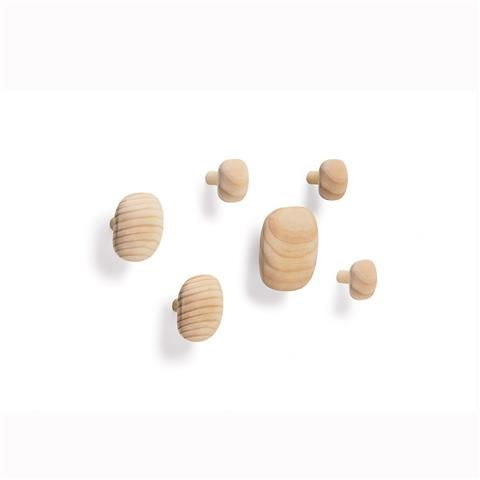 Wooden Wall Hooks - Pack of 6