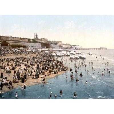 Beach scene, 1890s at Ramsgate, England