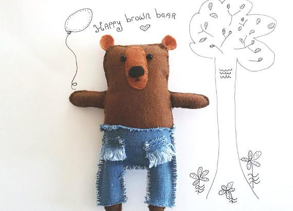 Cute Small Teddy Bear Brown Handmade Felt Bear Doll Toy