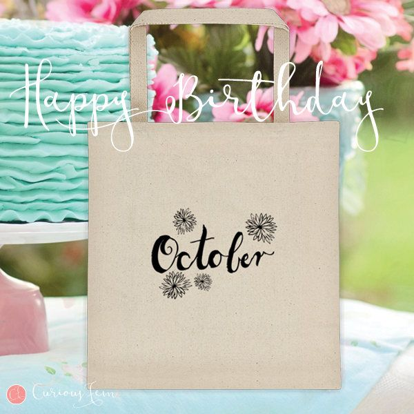 October Birthday Tote Bag – 100% Cotton – Printed Front and Back #fashion #october  #birthday #happybirthday #tote #totebag #printed #pencildrawing
