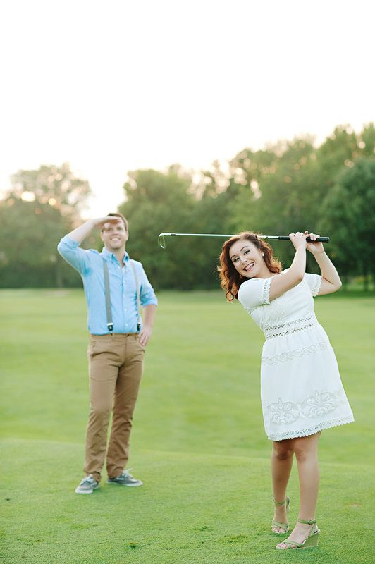 vintage golf engagement session Photo By Kortnee Kate Photography